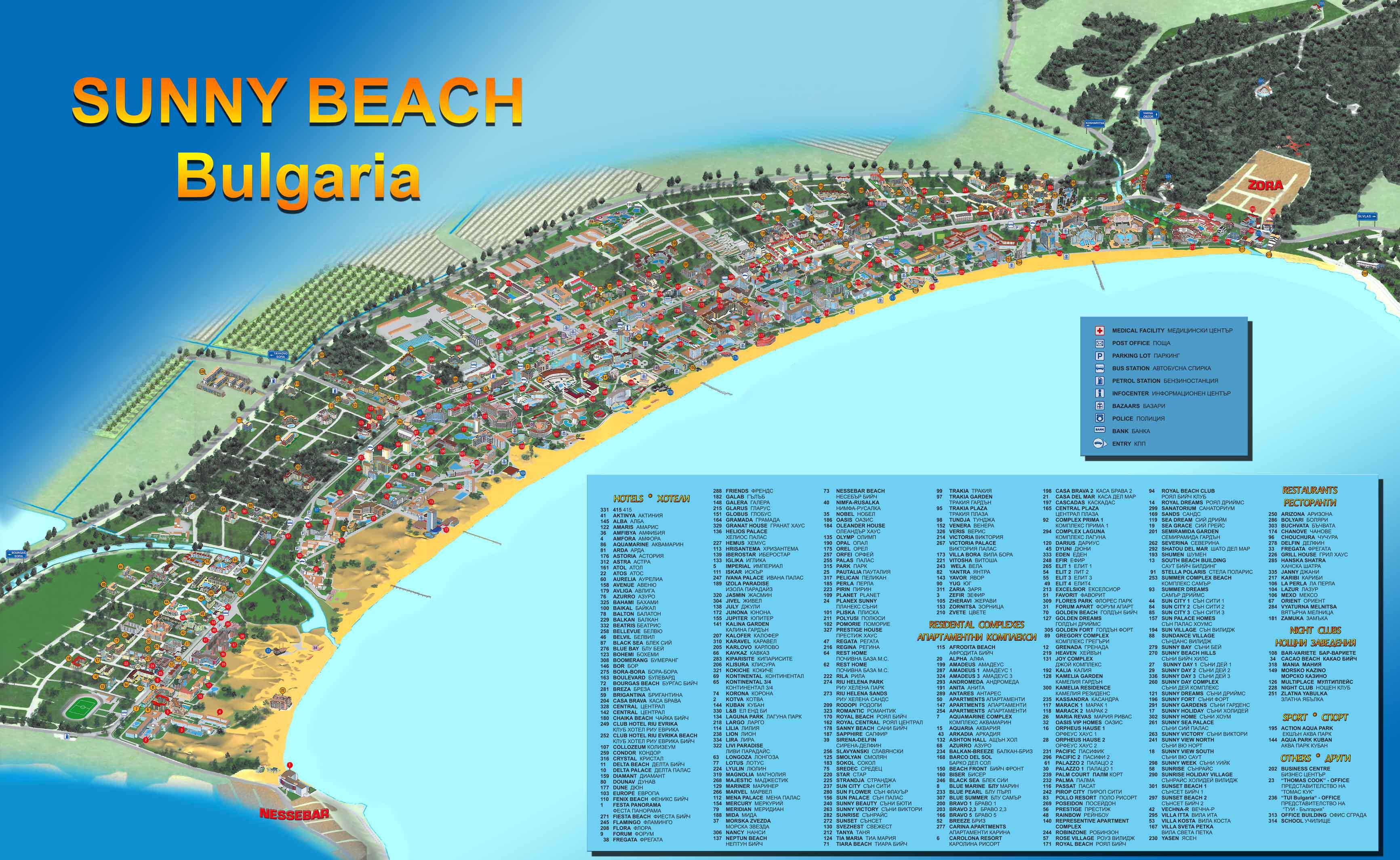 Карта Солнечный Берег Болгарии